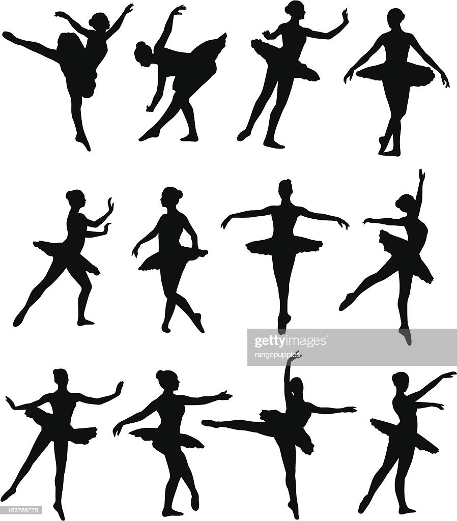 Illustrated silhouettes of ballet dancers