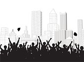 Illustrated silhouettes of crowd celebrating over cityscape
