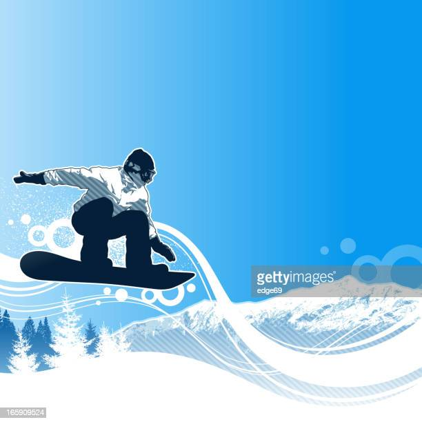 Illustrated snowboarder making a jump