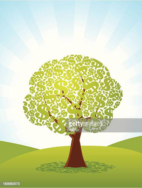 illustrated tree with dollar signs for leaves - money tree stock illustrations, clip art, cartoons, & icons