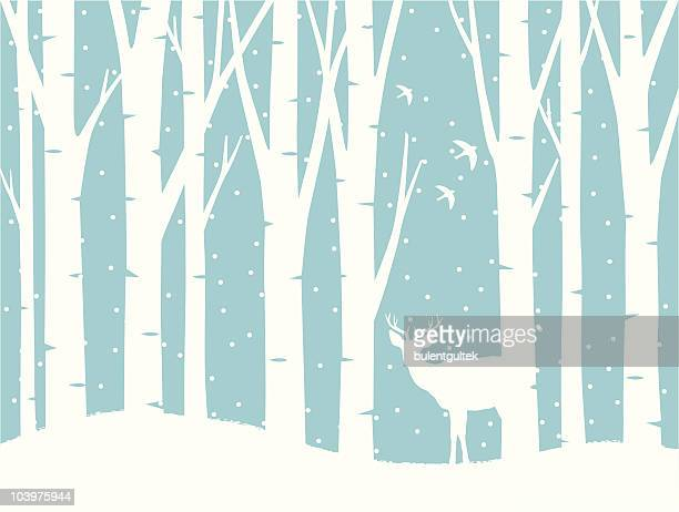 illustrated winter science with trees, snow and a deer - tree trunk stock illustrations, clip art, cartoons, & icons