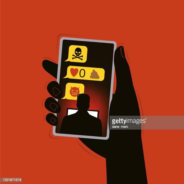 ilustrações de stock, clip art, desenhos animados e ícones de illustration about cyber bullying - cyberbullying