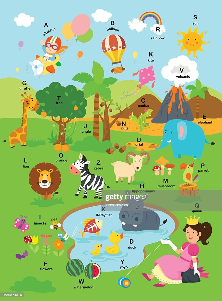 illustration alphabet a-z background