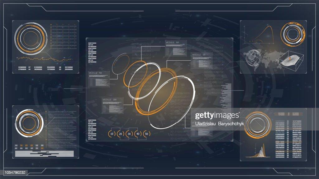 Illustration. Business network concept. Hud technology innovation. Futuristic vector hud interface screen design. Computer monitor vector illustration.
