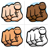 Illustration close body part, hand indicating, pointing, frontal view, ethnics Ideal for educational and institutional materials