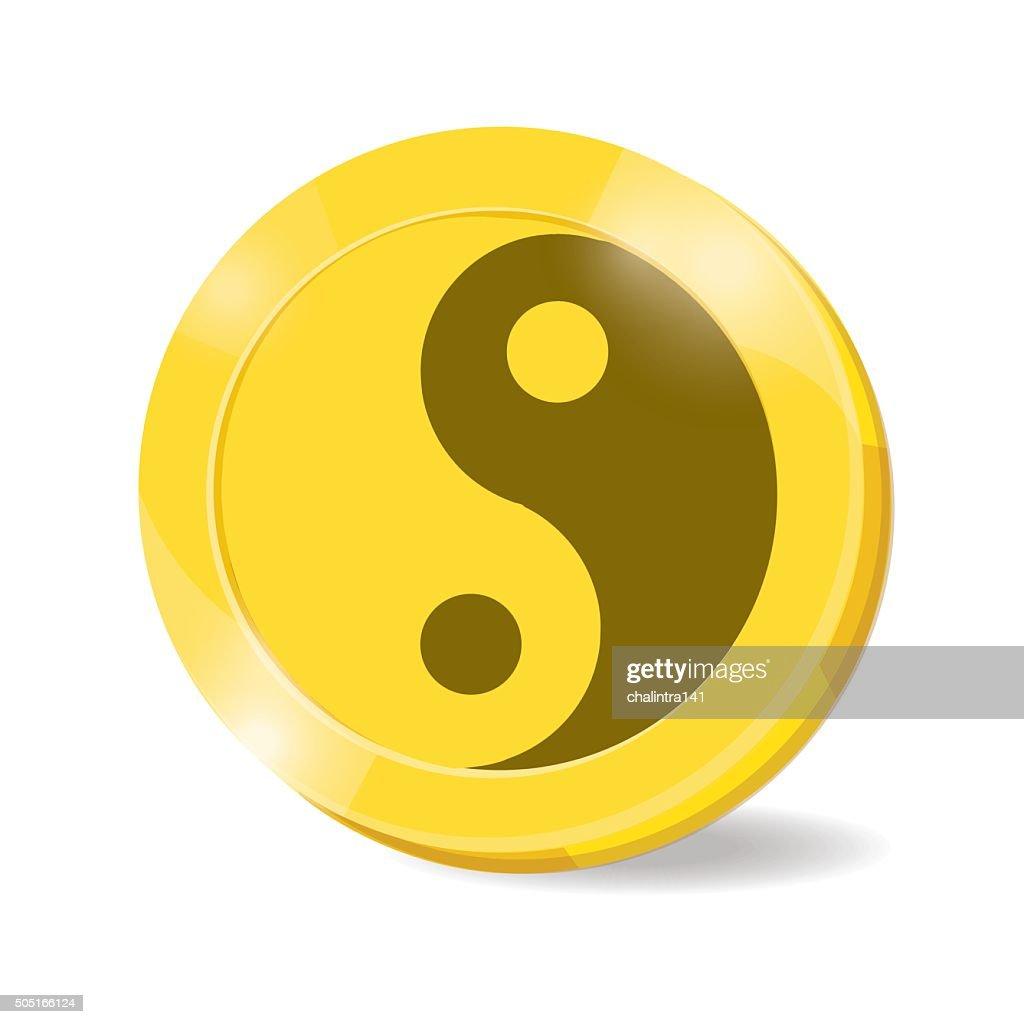illustration. coin yin,yang on white background.
