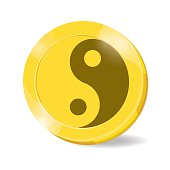 illustration. coin yin,yang on white background.