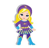 Illustration cute girl in the costume of a superhero.