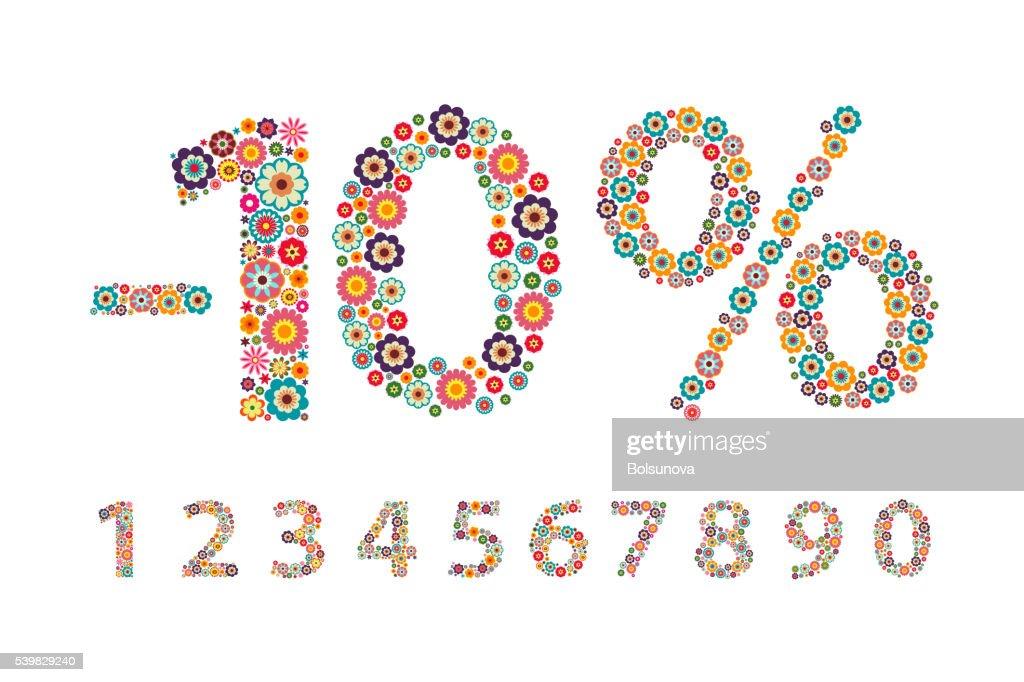 illustration Decorative figure with flowers, interest, percentage, number