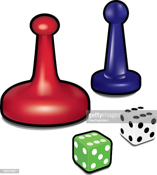 illustration dice and game pieces for a board game - part of stock illustrations