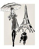 illustration Fashion woman near Eiffel Tower with little dog