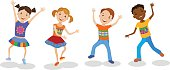 Illustration Featuring Dancing Kids set