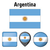 Illustration flag of Argentina, and several icons. Ideal for catalogs of institutional materials and geography