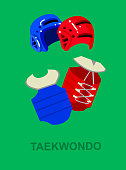 Illustration for martial art poster. Taekwondo training