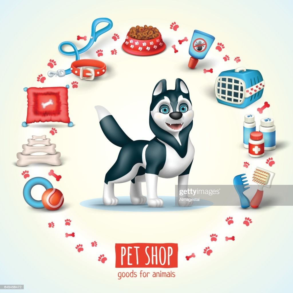Illustration for pet shop with dog siberian husky breed and dog's related icons