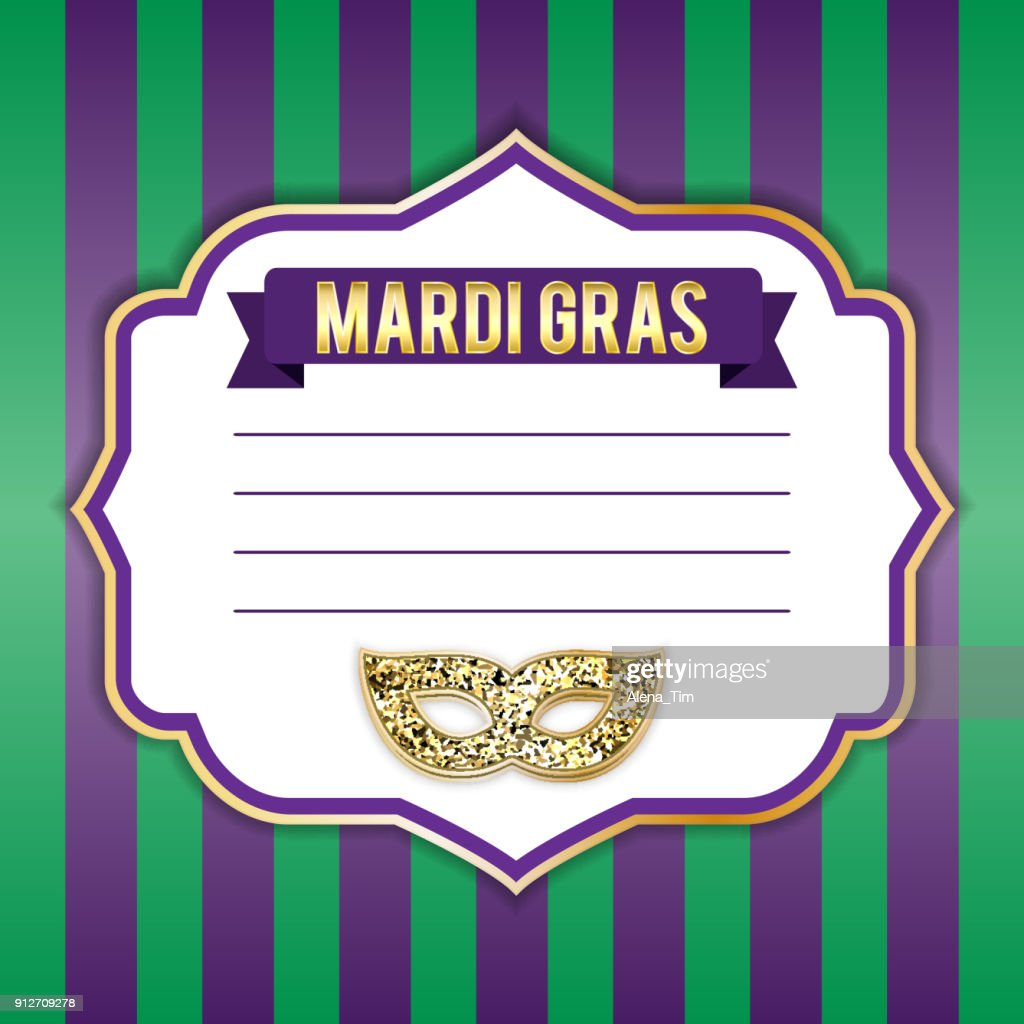 Illustration for the Mardi Gras holiday. Vector picture. Mask, inscription, beautiful background. Perfect for postcard design, congratulations, invitations, covers, banner, advertising