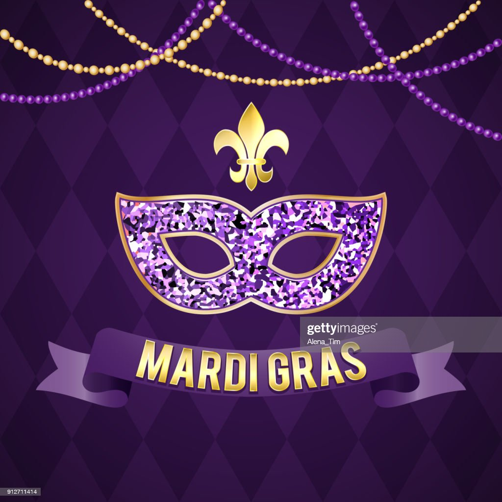 Illustration for the Mardi Gras holiday. Vector picture. Mask, inscription, gracladic lily, beautiful background. Perfect for postcard design, congratulations, invitations, covers, banner, advertising