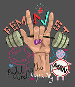 Illustration for t-shirt, clothes, postcard, poster. Female hand holding the bar. Illustration on the theme of feminism.