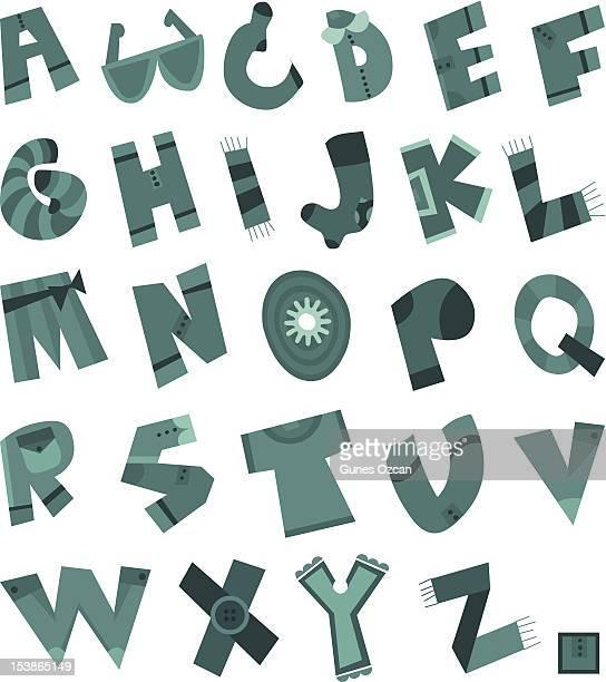 ilustraciones, imágenes clip art, dibujos animados e iconos de stock de divertido alfabeto de tela ilustración - aplique arte de la costura