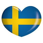 Illustration icon heart with Sweden flag. Ideal for catalogs of institutional materials and geography