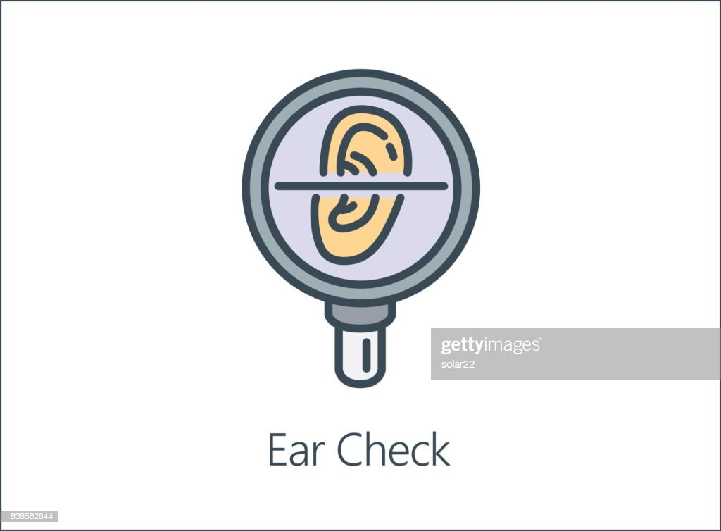 Illustration icon of Magnifying glass looking human Ear.