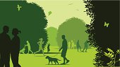 Illustration in tones of green of people at a park