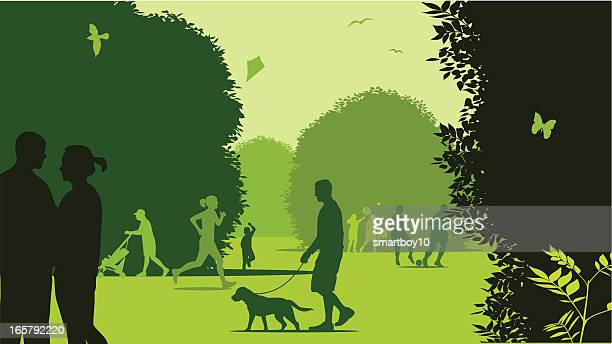 illustration in tones of green of people at a park - natural parkland stock illustrations, clip art, cartoons, & icons