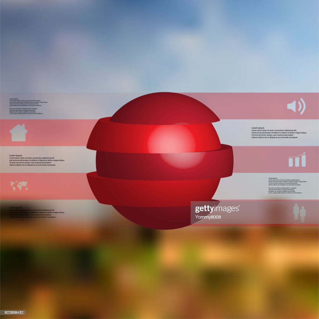 3D illustration infographic template with motif of sliced ball to five red parts which are stacked with shifted elements. Simple sign and text is in color banners.  Blurred photo is used as background.