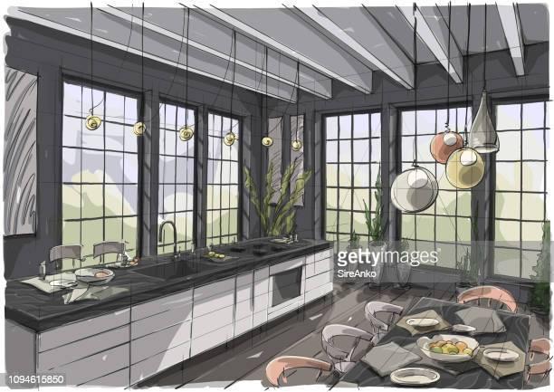 ilustraciones, imágenes clip art, dibujos animados e iconos de stock de ilustración diseño de interiores - mesa de comedor
