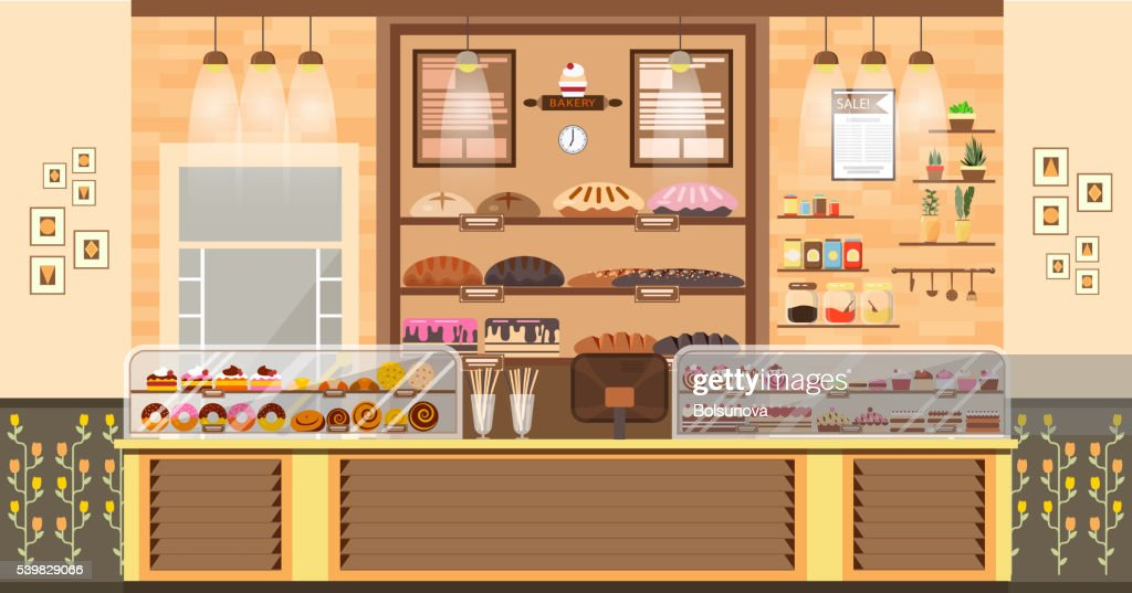 illustration interior of bake shop, sale, business baking sales, bakery