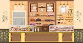 illustration interior of bake shop, sale, business baking sales, bakery