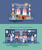 illustration interior science base, nuclear power plant in flat style