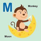 Illustration Isolated Alphabet Letter M-Moon,Monkey