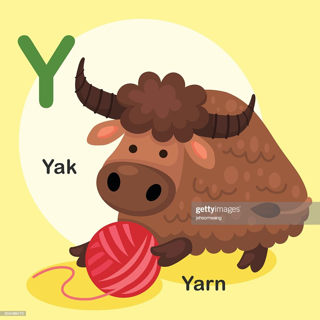 Illustration Isolated Animal Alphabet Letter Y-Yak,Yarn
