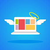 illustration laptop angel with wings and a halo