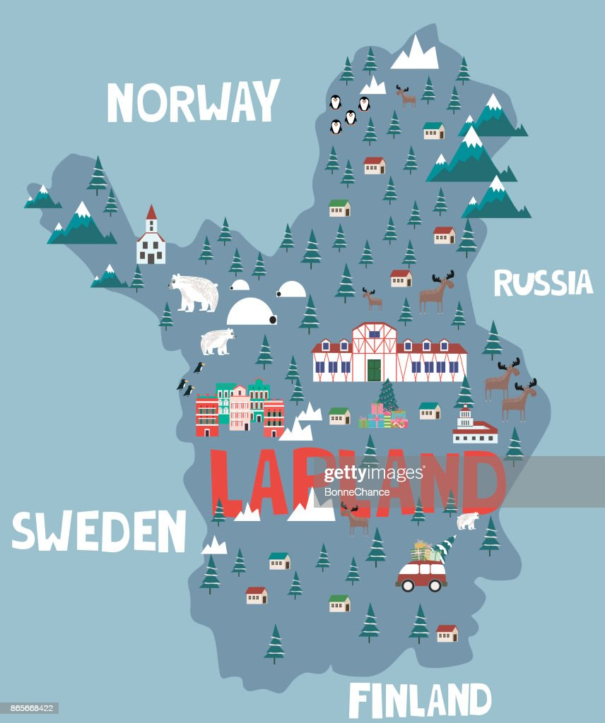 Illustration map of Lapland