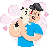 Illustration mascot bob hugging a dog demonstrating a lot of affection. Ideal for visual communication, veterinary information and institutional material