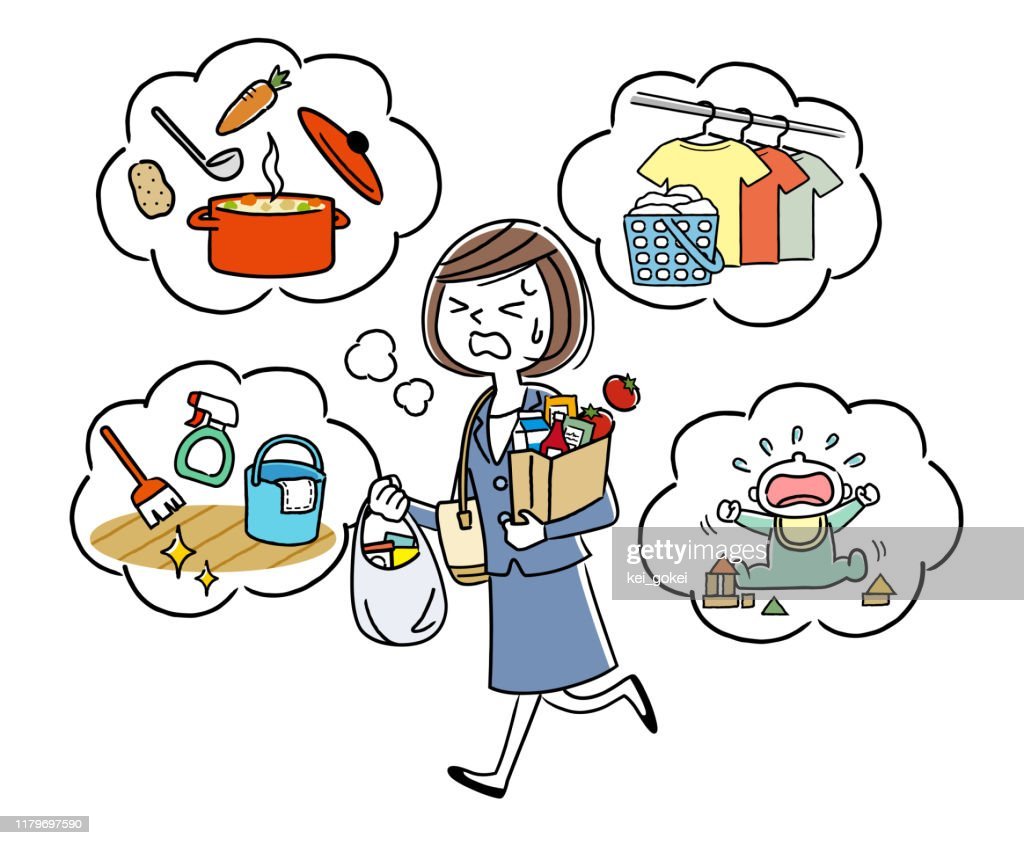 Illustration material: Housewife who does housework while working : stock illustration