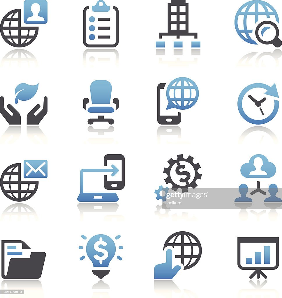 Illustration of 16 simple business vector icons