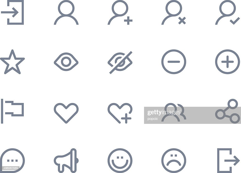 Illustration of 20 light gray communication icons