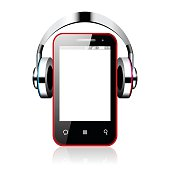 Illustration of a Android smart phone with headphones isolated