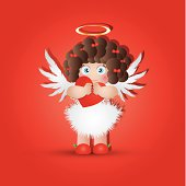 Illustration of a Baby Cupid Hugging a Heart