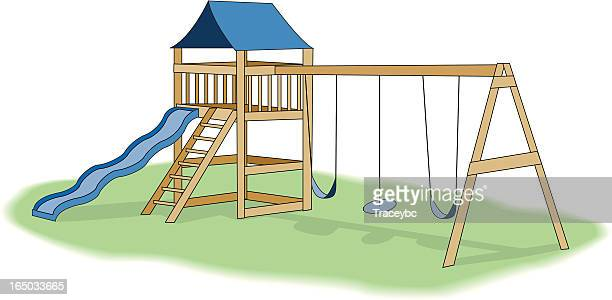 Illustration of a backyard playground with slide and swings