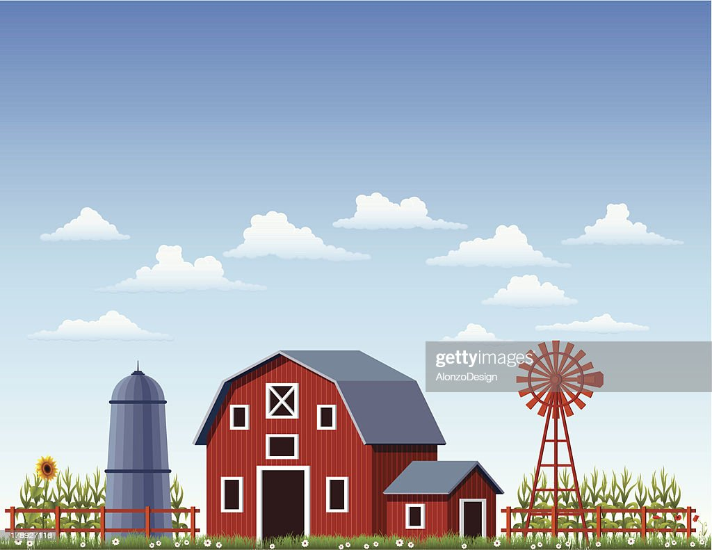 A illustration of a barn at a farm