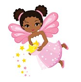Illustration of a beautiful fairy that scatter stars.