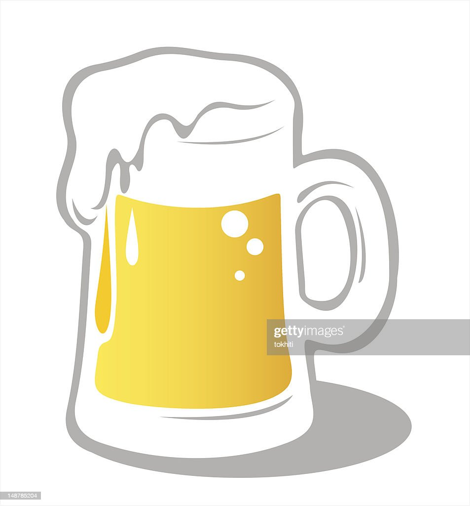 Illustration of a beer mug with foam