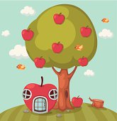 Illustration of a big tree apple and apple house