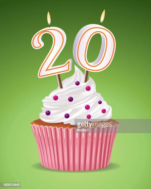 illustration of a birthday cupcake celebrating 20 years old - 20 24 years stock illustrations