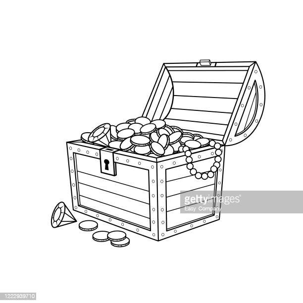 金貨でいっぱいの黒と白の宝箱を白い背景に描いたイラストで、ホームスクーリングを行うママや教え方を探す教師のための教材を組み立てたり作成したりするための白い背景。 - 古代の遺物点のイラスト素材/クリップアート素材/マンガ素材/アイコン素材