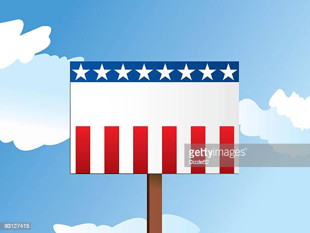 Illustration of a blank USA-themed political sign